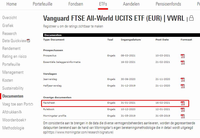 Informatie risico ETF opzoeken in factsheet